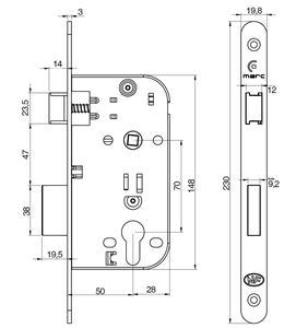 Serrure larder cylindre axe 50mm t ti re inox marc - Schema serrure de porte ...