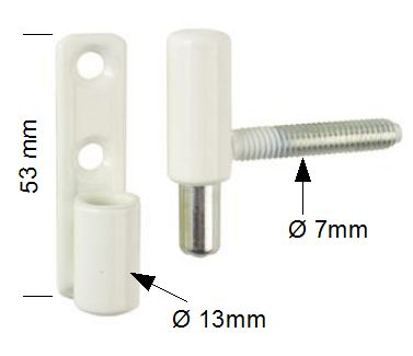 paumelle fiche blanche 13mm vis cach es avec tige 7 mm c2m avignon. Black Bedroom Furniture Sets. Home Design Ideas