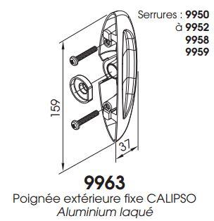 poign e ext rieure fixe calipso 9963 c2m avignon. Black Bedroom Furniture Sets. Home Design Ideas