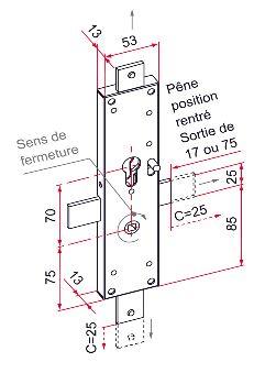 serrure ce 2 points p ne droit pour porte d placement lat ral sens europ en droite c2m. Black Bedroom Furniture Sets. Home Design Ideas