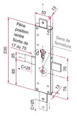 serrure ce 2 points p ne droit pour porte d placement lat ral sens europ en gauche c2m. Black Bedroom Furniture Sets. Home Design Ideas